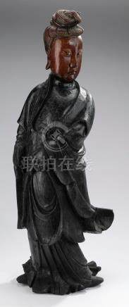 """Carved and paint decorated Guanyin, 28""""h"""