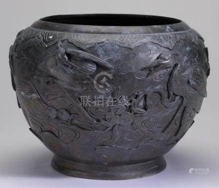 Japanese bronze urn of cranes & pomegranates w/ seal