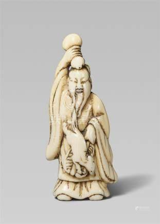 An ivory netsuke of Chôkarô Sennin. Late 18th /early 19th century
