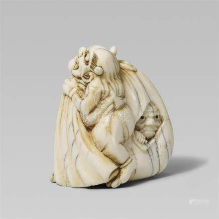 An unusual ivory netsuke of an oni. Early 19th century