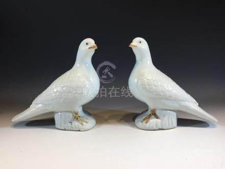 Pair Chinese ceramic pigeons