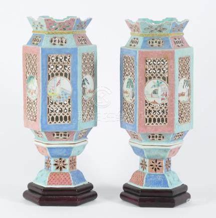 Pair of Chinese Porcelain Famille Rose Lanterns, 20th Centur