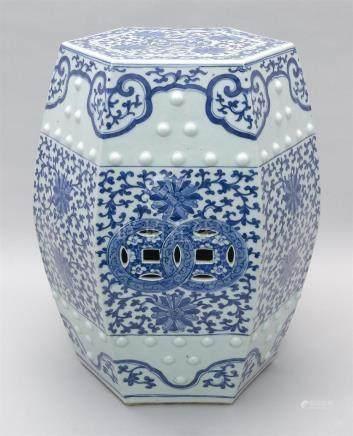Chinese blue white garden seat, In hexagonal form.