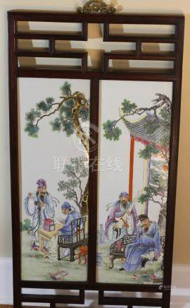 CHINESE porcelain tiles mounted on wooden frame