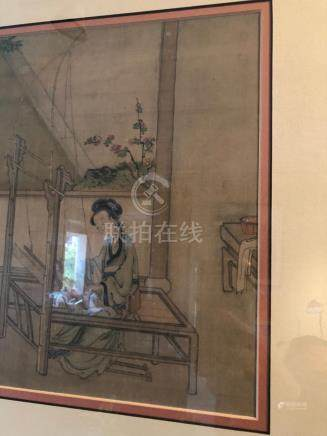 Framed Chinese painting on silk #2