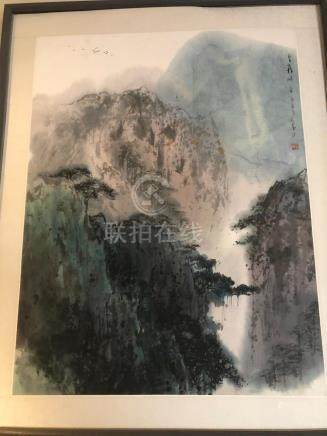 Chinese watercolor on paper framed