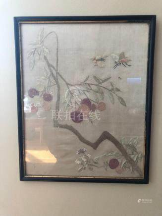 Chinese silk embroidry with lichi