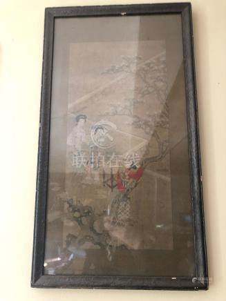 framed Chinese painting on silk with beauties