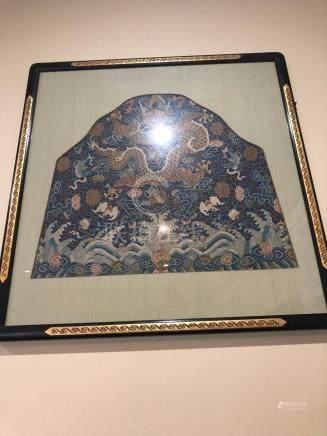 Chinese silk kesi panel with dragon