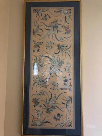 Chinese silk embroidry with flowers framed