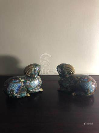 Chinese cloisonne rams, pair