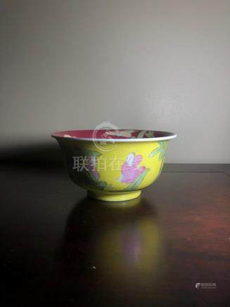 Chinese Famille rose yellow ground bowl,