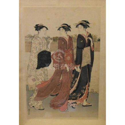Japanese Geisha on Silk