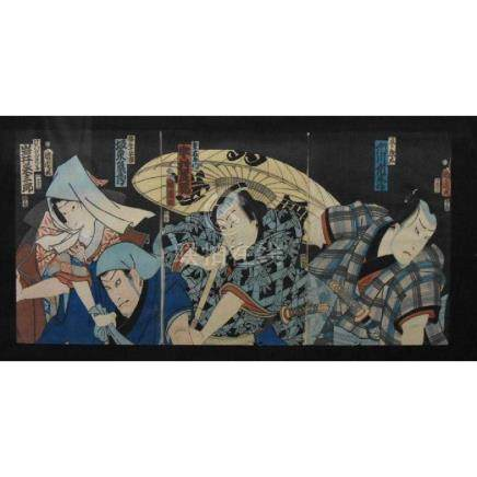 Japanese woodblock by Kuniyoshi's, Kunisada Triptych
