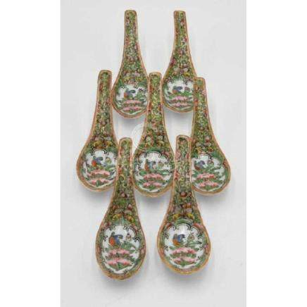 Rose Medallion ca 1860 Authentic Spoon Set.(7) spoons