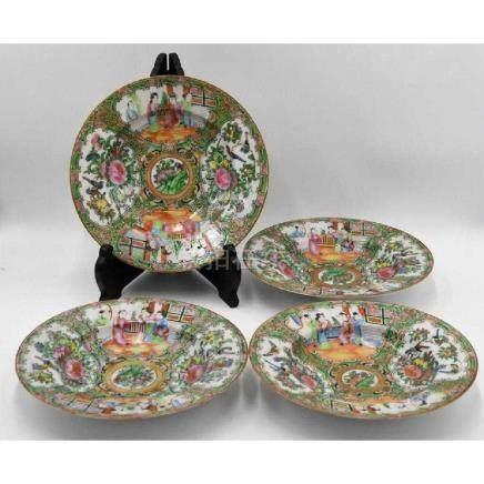 Rose Medallion ca 1860 (4) Soup Bowls