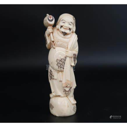 Late Ivory 1800s Japanese Man with Hammer Meiji