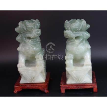 Jade Foo Dogs Vintage Celadon color Hetian