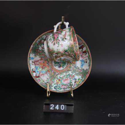 Rose Medallion circa 1860 cup and Saucer
