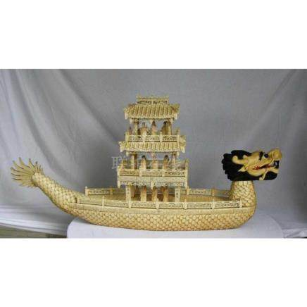 Dragon Boat (Large) 3 Tear Chinese Hand Carved Bone
