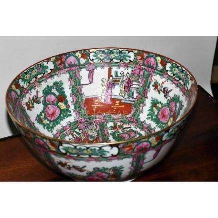 Rose Medallion Large Bowl with Metal Stand