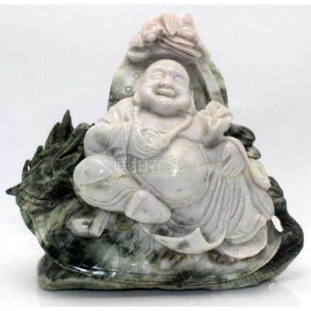 Chinese Jade w/white jade Happy Buddha