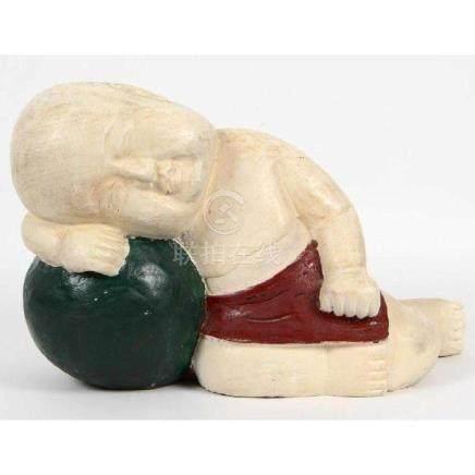 Japanese Carved reumbant boy Wood Figure
