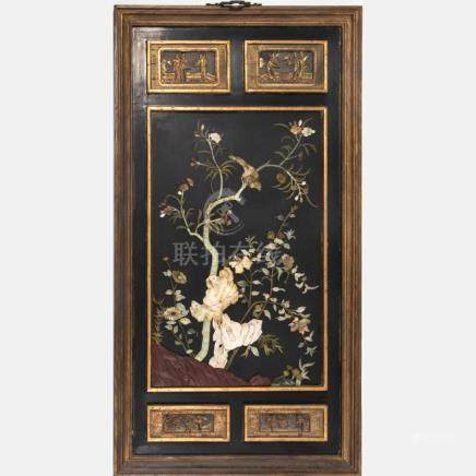 A Chinese Carved, Gilt Lacquered and Hardstone Panel, 20th C