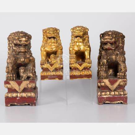 Two Pairs of Chinese Carved, Polychrome and Gilt Painted Woo