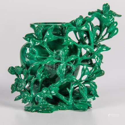 A Chinese Carved Malachite Vase with Floral Vine Form Motif.
