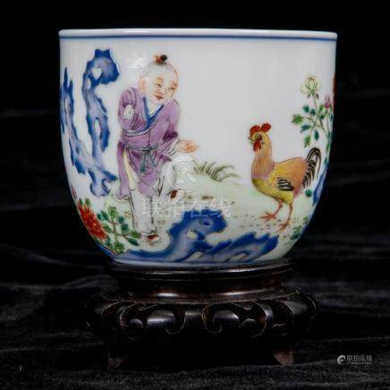 A Rare Famille Rose 'Boy and Chicken' Cup with Imperial Poem