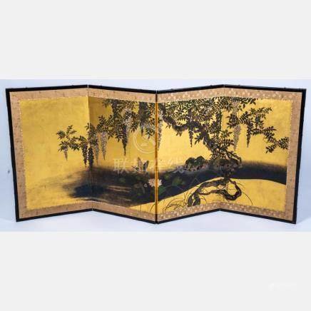 A Japanese Painted and Gilt Lacquered Four Panel Screen, 20t
