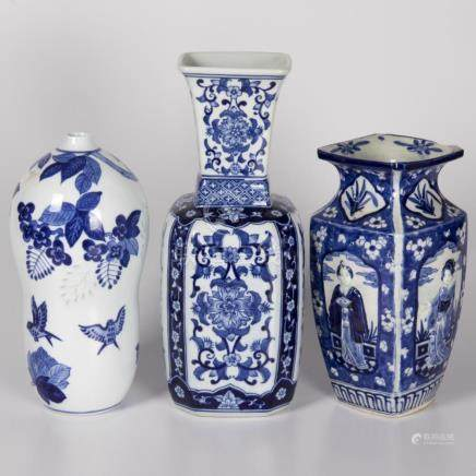 A Group of Three Chinese Blue and White Porcelain Vases, 20t