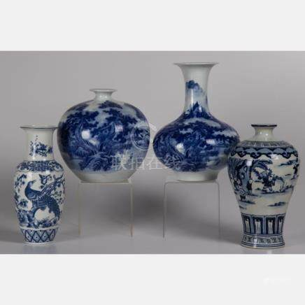 A Group of Four Chinese Blue and White Porcelain Vases, 20th