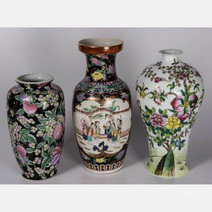 A Group of Three Chinese Porcelain Vases, 20th Century.