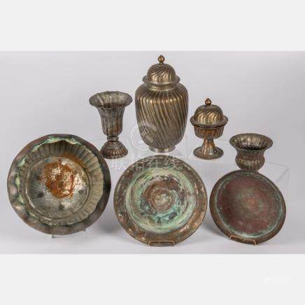 A Collection of Chinese Hammered Copper Decorative Bowls and