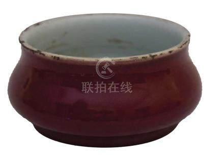 A RED-GLAZED BRUSH WASHERChina, Qing dynasty,