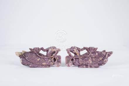 Pair of Chinese carved jade birds.