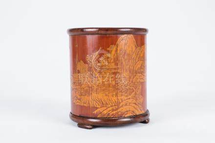 Chinese carved bamboo brush pot.