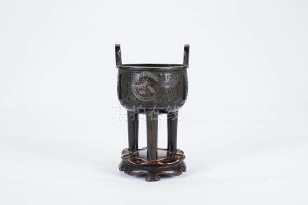 Chinese tripod bronze incense burner.