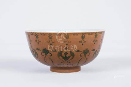 Chinese brown glaze pottery bowl, Qianlong mark.