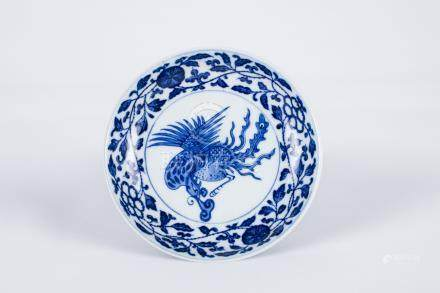 Chinese blue and white porcelain plate, Yongzheng mark.