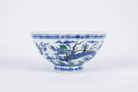 Chinese blue and white green dragon porcelain bowl, marked.
