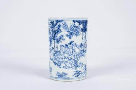 Chinese blue and white porcelain brush pot.