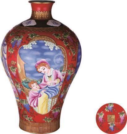 Qianlong Period of Qing Dynasty 珐琅彩人物梅瓶