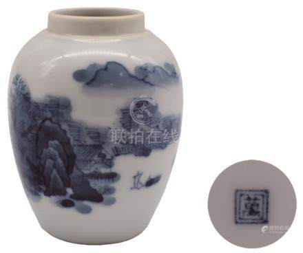 青花山水罐