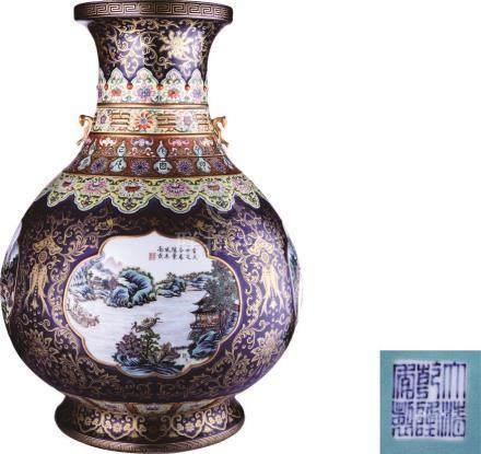 Qianlong Period of Qing Dynasty  霁蓝釉描金开光珐琅彩山水图转颈瓶