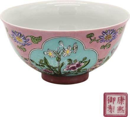 Made by Emperor Kangxi 清康熙粉红地珐琅彩开光花卉碗