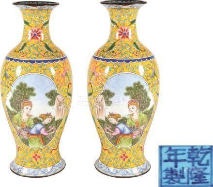 Qianlong Period of Qing Dynasty  铜胎画珐琅开光西洋人物图赏瓶