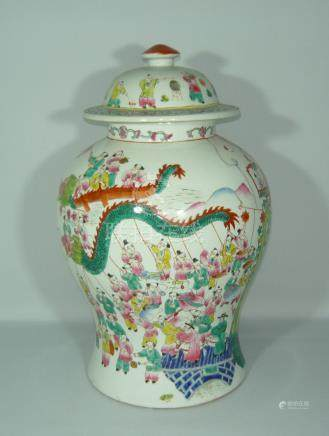 Large lid vase decorated all around.